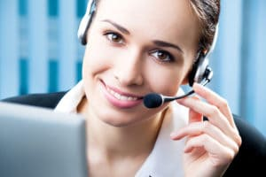 Customer service phone operator at workplace